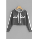 Basic Simple Letter Baby Girl Printed Womens Long Sleeve Cropped Grey Hoodie