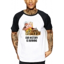 Notre-Dame Our History is Burning Colorblock Short Sleeve White T-Shirt