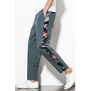 Autumn Chinese Style Retro Floral Printed Drawstring-Waist Linen Carrot Fit Pants for Men