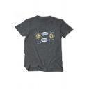 New Trendy Basic Round Neck Short Sleeve Graphic T-Shirt