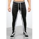 Fashion Colorblocked Stripe Side Drawstring Waist Zip Pocket Zippered Vent Casual Track Pants