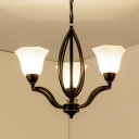 Traditional Black Ceiling Light Up Lighting 3/6/8 Lights Metal and Frosted Glass Chandelier for Living Room