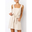 Women's Summer Beige Solid Color Sleeveless Bow-Tied Waist Casual Culotte Romper