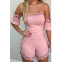 Womens New Trendy Hollow Out Hem Solid Color Off the Shoulder Short Sleeve Zipper Front Slim Romper