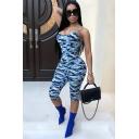 Womens Sexy Fashion Camo Printed Spaghetti Straps Skinny Fit Romper Jumpsuit