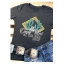 Cactus ON THE ROAD AGAIN Letter Printed Dark Grey Round Neck Short Sleeve Tee