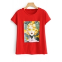 Red Round Neck Short Sleeve Character Printed Tee