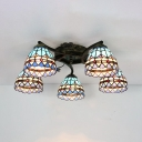 Stained Glass Cone Light Fixture 5 Lights Antique Semi Flush Mounted Light for Living Room