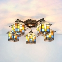 Rustic House Shape Semi Ceiling Mount Light 5 Lights Stained Glass Overhead Light for Bedroom