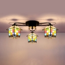 House Shade Hotel Semi Flush Mount Light Stained Glass 3 Lights Rustic Style Ceiling Lamp