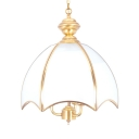 Metal and Glass Chandelier 3 Lights Traditional Style Pendant Lamp for Hotel Restaurant