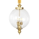Classic Globe Shade Chandelier Bubble Glass and Metal 3 Lights Pendant Light for Bedroom Hotel