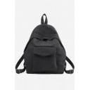 Fashion Solid Color Pocket Patched Canvas Backpack 28*13*36 CM