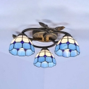Mediterranean Style Cone Ceiling Light 3 Lights Stained Glass Semi Flush Mount Light for Restaurant