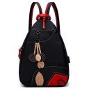 Designer USB Charger Floral Leaf Patched Multipurpose Black Shoulder Bag Cross Body Backpack 25*13*35 CM