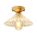 Cone Hallway Flush Mount Light Fluted Glass 1 Light Antique Style Ceiling Lamp