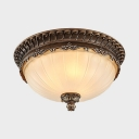 Bronze/Off-white Dome Ceiling Light 3 Light Vintage Style Fluted Glass Flush Light for Hotel