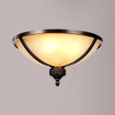 Frosted Glass Dome Ceiling Light Dining Room Foyer 3 Lights Flush Mount Light