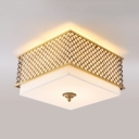 Metal Square Ceiling Mount Light 4/5 Lights Rustic Style Flush Ceiling Light for Living Room