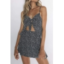 Women's Trendy Black Floral Printed Knotted Front Cutout Mini Slip Dress