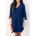 Summer Basic Simple Plain Fashion Mesh Panel Sleeve V-Neck Mini Shift Dress