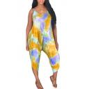 Women's Summer New V Neck Spaghetti Straps Sleeveless Tie-dye Printed Wide Leg Jumpsuit