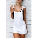 Hot Fashion Plain Square Neck Sexy Backless Detail Bow-Tied Strap Suspender Romper for Women