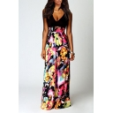 Women's New Trendy Black Floral Printed V-Neck Sleeveless Maxi Dress