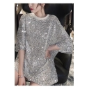 Girls Summer New Trendy Round Neck Glitter Sequined Longline Oversized T-Shirt