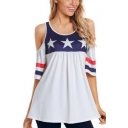 Summer Hot Fashion Trendy Stars Print Stripes Cold Shoulder Round Neck Tee