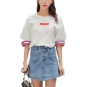 Summer Casual TOKYO Letter Printed Cut Out Stripes Side Short Sleeve Round Neck White Loose T-Shirt