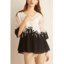Women's Hot Fashion Round Neck Half Sleeve Patch Lace Chiffon T-Shirt