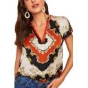 Women's New Trendy Short Sleeve V-Neck Tribal Print Loose T-Shirt