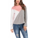 Women's Hot Sale Round Neck Long Sleeve Color Block Grey T-Shirt