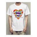 New Fashion Gay Rainbow Heart Letter I'M NOT SORRY Basic White Short Sleeve Graphic Tee