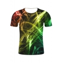 Men's Hot Popular 3D Line Printed Round Neck Short Sleeve Casual T-Shirt