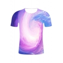 Fashion Colorful 3D Whirlpool Printed Round Neck Short Sleeve T-Shirt