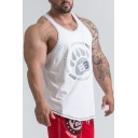 Mens Letter Paw Printed Sleeveless Breathable Training Fitness Racerback Muscle Tank Top