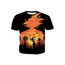 Funny Comic Character Sunset Print Round Neck Short Sleeve Basic Casual Black T-Shirt For Men