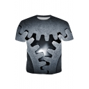 Men's Hot Fashion Cool 3D Gears Printed Round Neck Short Sleeve Grey Basic Tee