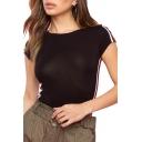 Summer Womens Hot Trendy Striped Short Sleeve Round Neck Slim Fit Black T-Shirt