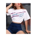 Fashion Striped Letter GOOD BAD GIRL Printed Round Neck Short Sleeve White Cropped T-Shirt