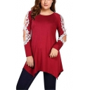 Womens Plus Size Solid Color Round Neck Crochet Cutout Long Sleeve Asymmetrical T-Shirt
