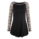 Fashion Tribal Style Geometric Printed Long Sleeve Round Neck Fitted T-Shirt