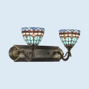 Stained Glass Bowl Wall Sconce Double Lights Tiffany Style Sconce Light for Stair