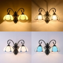 Hallway Stair Dome Shade Wall Lamp Glass Double Lights Vintage Style Scone Wall Light