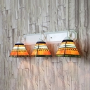 Restaurant Shop Trapezoid Wall Lamp 3 Lights Tiffany Style Rustic Stained Glass Sconce Light