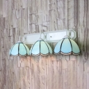 Bowl Dining Room Sconce Light Glass 3 Lights Simple Style Wall Light in Blue
