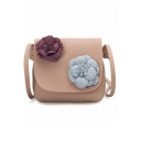 Trendy Flower Decoration Mini Crossbody Handbag for Girls 14*2*10 CM