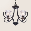 Clear Glass Bell Chandelier 4/6/8 Lights American Rustic Pendant Light in Black for Bedroom